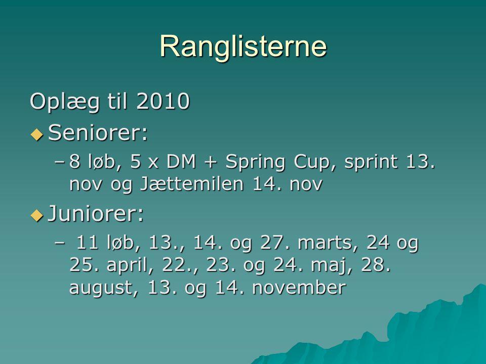 Ranglisterne Oplæg til 2010  Seniorer: –8 løb, 5 x DM + Spring Cup, sprint 13.