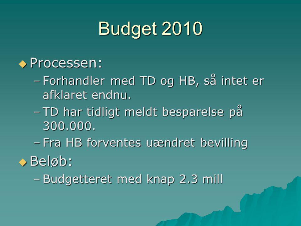 Budget 2010  Processen: –Forhandler med TD og HB, så intet er afklaret endnu.