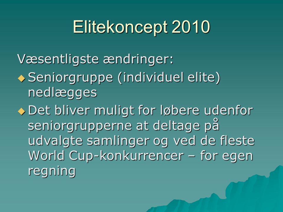 Elitekoncept 2010 Væsentligste ændringer:  Seniorgruppe (individuel elite) nedlægges  Det bliver muligt for løbere udenfor seniorgrupperne at deltage på udvalgte samlinger og ved de fleste World Cup-konkurrencer – for egen regning