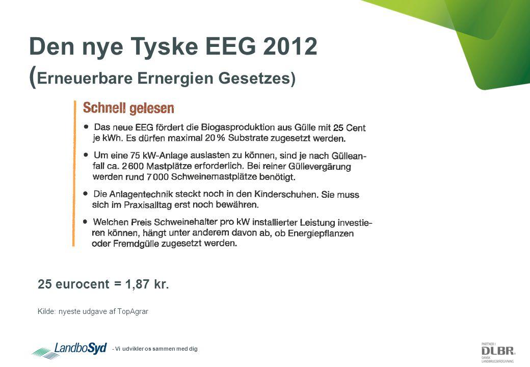 - Vi udvikler os sammen med dig Den nye Tyske EEG 2012 ( Erneuerbare Ernergien Gesetzes) 25 eurocent = 1,87 kr.