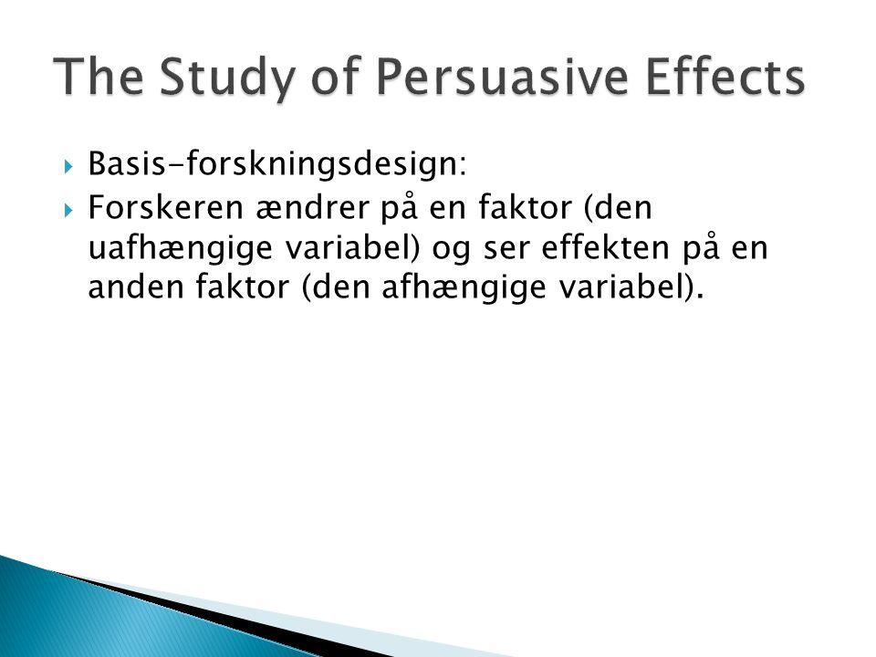  Basis-forskningsdesign:  Forskeren ændrer på en faktor (den uafhængige variabel) og ser effekten på en anden faktor (den afhængige variabel).