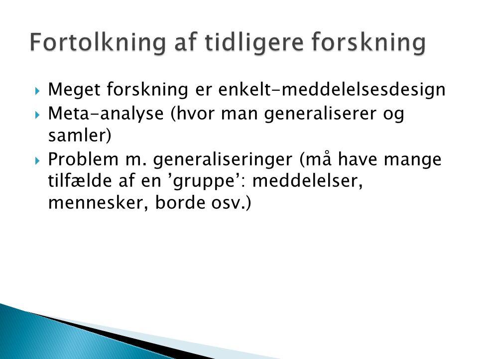  Meget forskning er enkelt-meddelelsesdesign  Meta-analyse (hvor man generaliserer og samler)  Problem m.