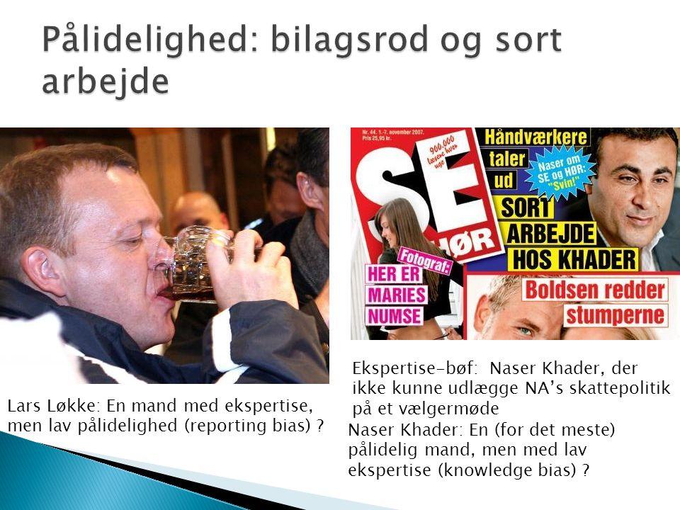 Ekspertise-bøf: Naser Khader, der ikke kunne udlægge NA's skattepolitik på et vælgermøde Lars Løkke: En mand med ekspertise, men lav pålidelighed (reporting bias) .