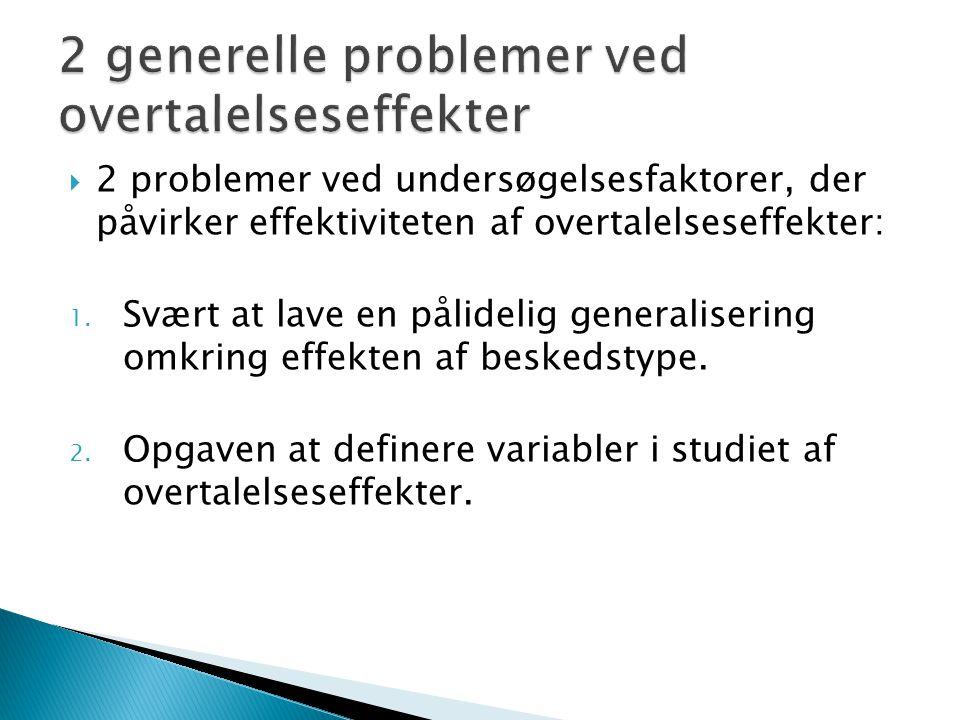  2 problemer ved undersøgelsesfaktorer, der påvirker effektiviteten af overtalelseseffekter: 1.