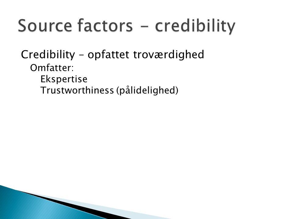 Credibility – opfattet troværdighed Omfatter: Ekspertise Trustworthiness (pålidelighed)
