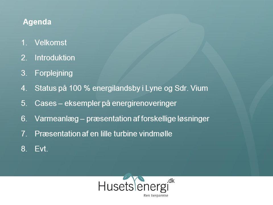 Agenda 1.Velkomst 2.Introduktion 3.Forplejning 4.Status på 100 % energilandsby i Lyne og Sdr.