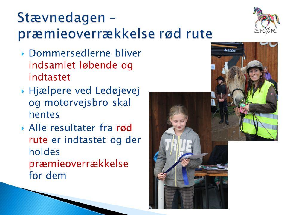  Dommersedlerne bliver indsamlet løbende og indtastet  Hjælpere ved Ledøjevej og motorvejsbro skal hentes  Alle resultater fra rød rute er indtastet og der holdes præmieoverrækkelse for dem