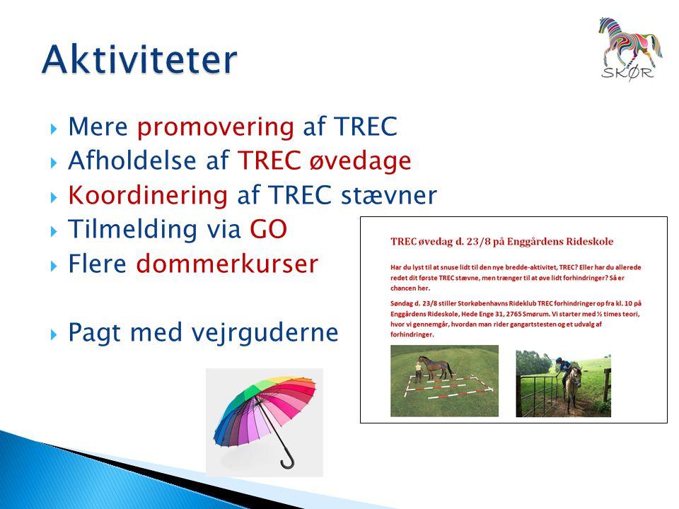  Mere promovering af TREC  Afholdelse af TREC øvedage  Koordinering af TREC stævner  Tilmelding via GO  Flere dommerkurser  Pagt med vejrguderne