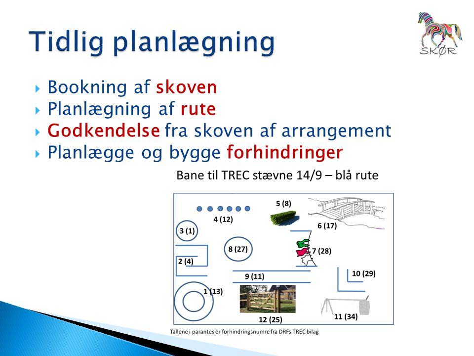  Bookning af skoven  Planlægning af rute  Godkendelse fra skoven af arrangement  Planlægge og bygge forhindringer