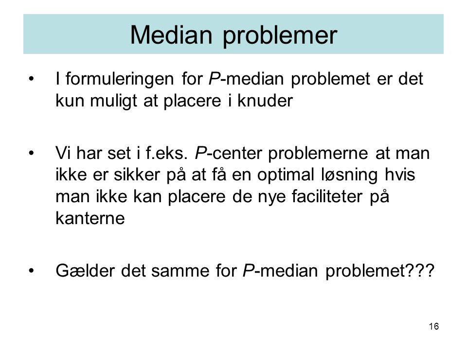 16 I formuleringen for P-median problemet er det kun muligt at placere i knuder Vi har set i f.eks.