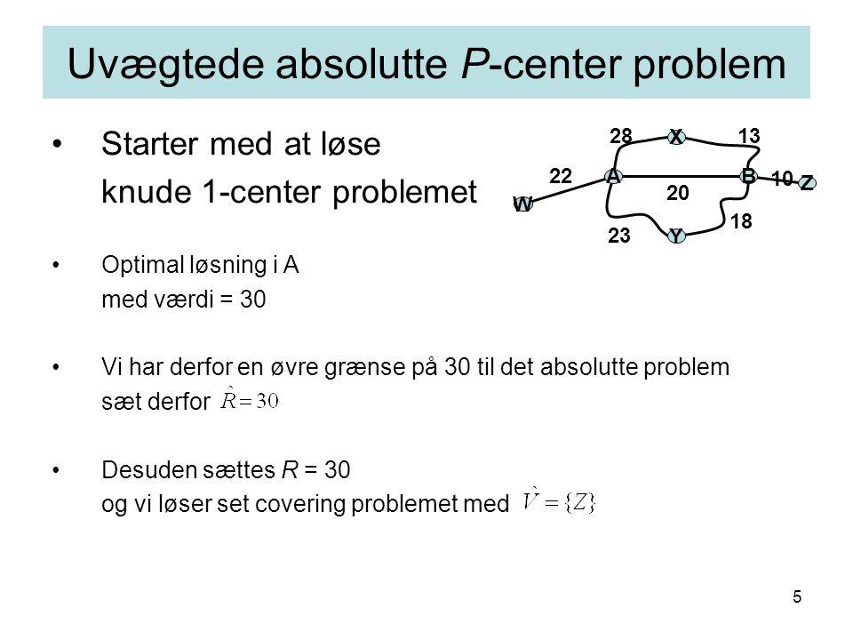5 Starter med at løse knude 1-center problemet Optimal løsning i A med værdi = 30 Vi har derfor en øvre grænse på 30 til det absolutte problem sæt derfor Desuden sættes R = 30 og vi løser set covering problemet med Uvægtede absolutte P-center problem AB X Y 1328 18 23 20 W Z 10 22
