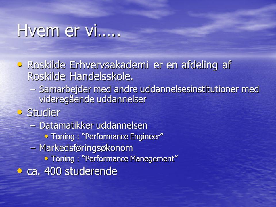 Hvem er vi….. Roskilde Erhvervsakademi er en afdeling af Roskilde Handelsskole.