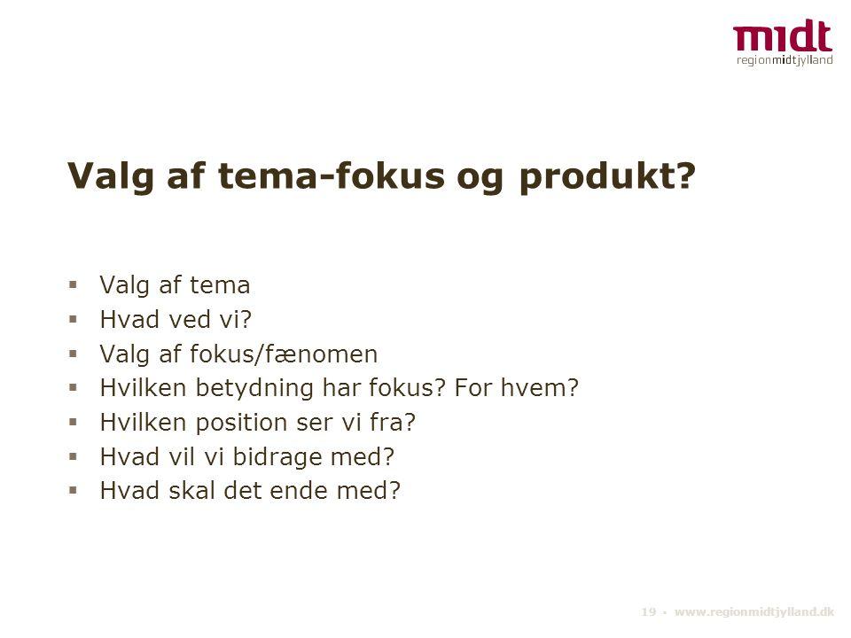 19 ▪ www.regionmidtjylland.dk Valg af tema-fokus og produkt.