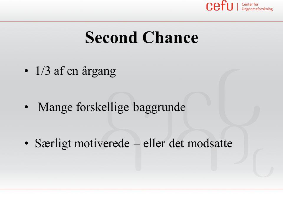 Second Chance 1/3 af en årgang Mange forskellige baggrunde Særligt motiverede – eller det modsatte