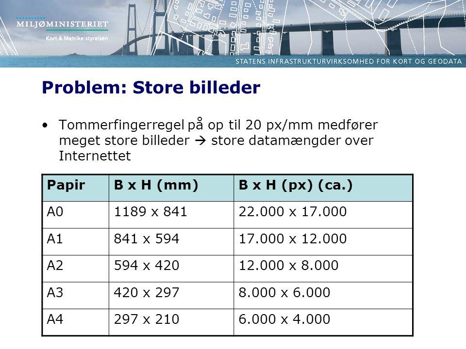 Problem: Store billeder Tommerfingerregel på op til 20 px/mm medfører meget store billeder  store datamængder over Internettet PapirB x H (mm)B x H (px) (ca.) A01189 x 84122.000 x 17.000 A1841 x 59417.000 x 12.000 A2594 x 42012.000 x 8.000 A3420 x 2978.000 x 6.000 A4297 x 2106.000 x 4.000