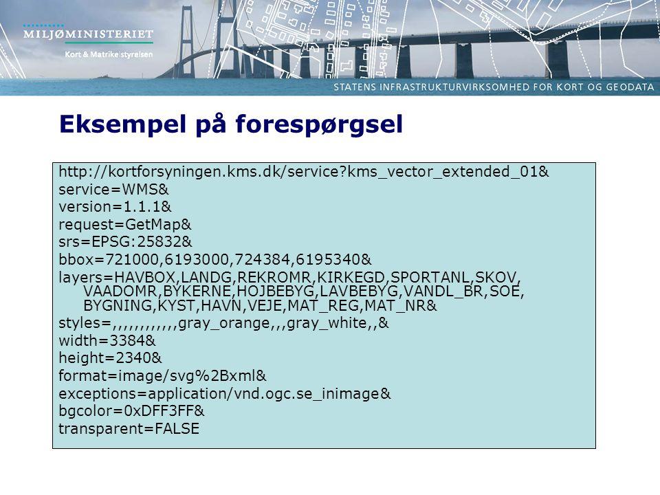 Eksempel på forespørgsel http://kortforsyningen.kms.dk/service kms_vector_extended_01& service=WMS& version=1.1.1& request=GetMap& srs=EPSG:25832& bbox=721000,6193000,724384,6195340& layers=HAVBOX,LANDG,REKROMR,KIRKEGD,SPORTANL,SKOV, VAADOMR,BYKERNE,HOJBEBYG,LAVBEBYG,VANDL_BR,SOE, BYGNING,KYST,HAVN,VEJE,MAT_REG,MAT_NR& styles=,,,,,,,,,,,,gray_orange,,,gray_white,,& width=3384& height=2340& format=image/svg%2Bxml& exceptions=application/vnd.ogc.se_inimage& bgcolor=0xDFF3FF& transparent=FALSE