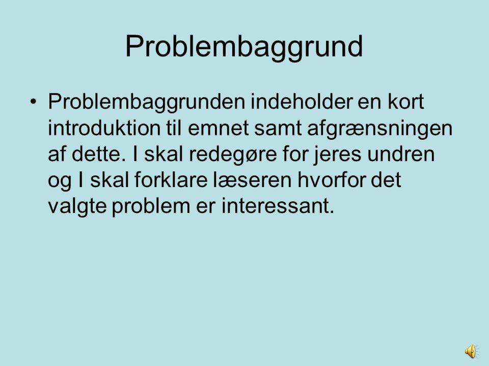Problembaggrund Problembaggrunden indeholder en kort introduktion til emnet samt afgrænsningen af dette. I skal redegøre for jeres undren og I skal fo