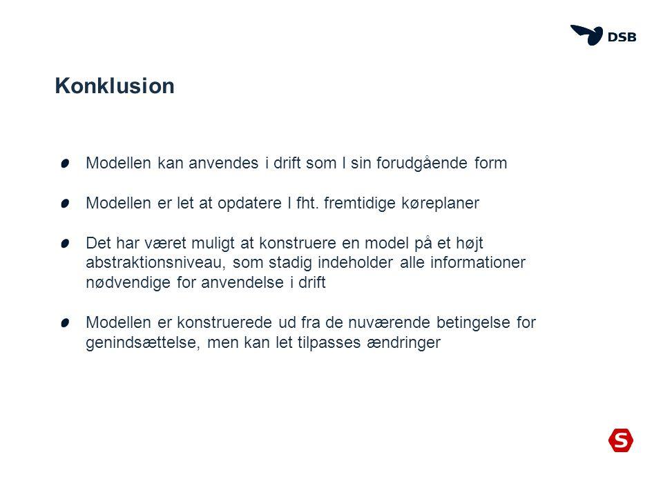 Konklusion Modellen kan anvendes i drift som I sin forudgående form Modellen er let at opdatere I fht.