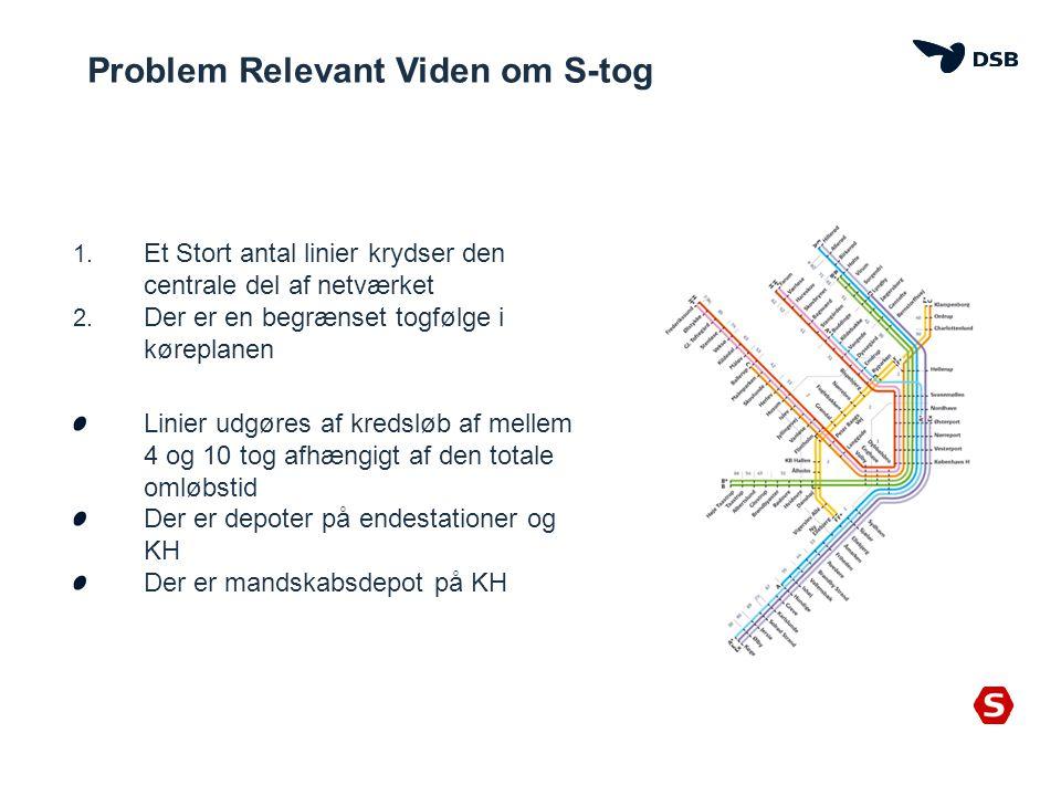 Problem Relevant Viden om S-tog 1. Et Stort antal linier krydser den centrale del af netværket 2.