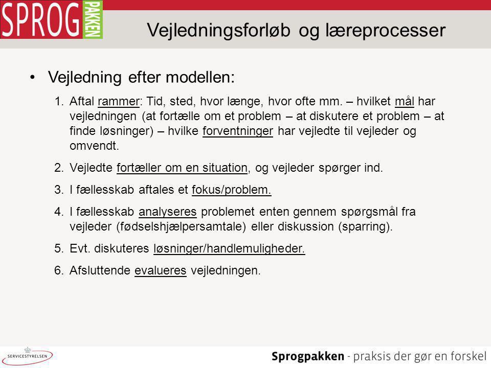 Vejledningsforløb og læreprocesser Vejledning efter modellen: 1.Aftal rammer: Tid, sted, hvor længe, hvor ofte mm.
