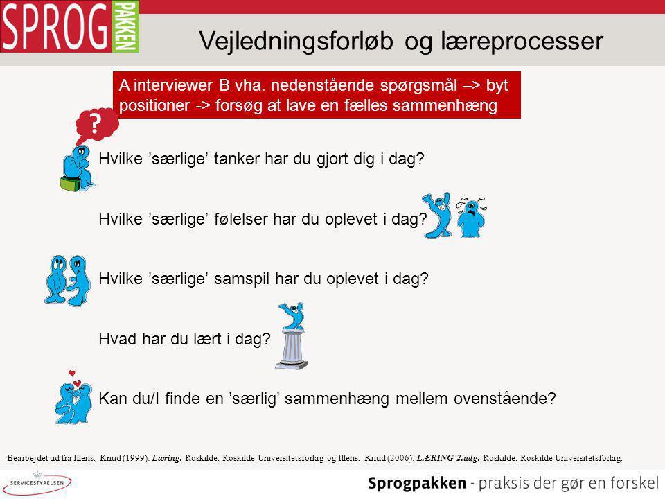 Vejledningsforløb og læreprocesser Bearbejdet ud fra Illeris, Knud (1999): Læring.