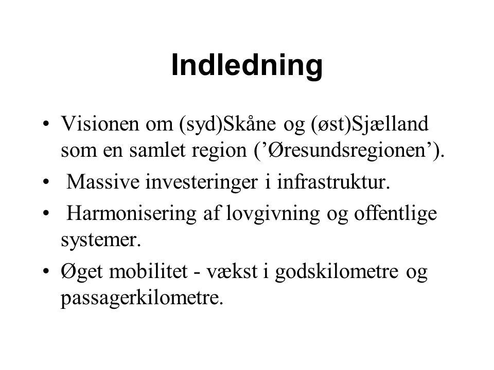 Indledning Visionen om (syd)Skåne og (øst)Sjælland som en samlet region ('Øresundsregionen').
