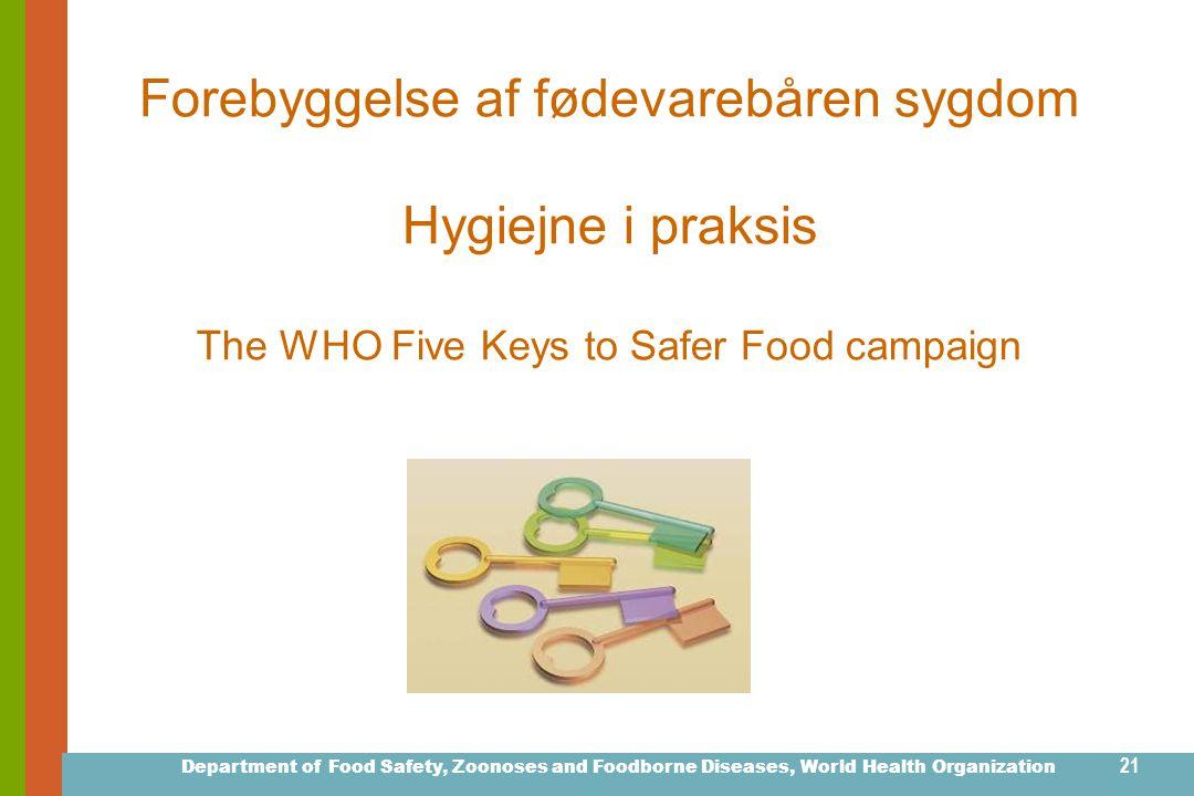 Department of Food Safety, Zoonoses and Foodborne Diseases, World Health Organization 20 Den danske model Danmark har vist at fokusering paa risiko for mennesker kan give resultater (Salmonella, antibiotikaresistens, Campylobacter ) Danmark har vist at disse resultater kan opnaas ved samarbejde med produktionssektoren (Landbrugets direkte involvering) Danmark har vist at forbrugeren kan involveres med succes ----------------------------------- Danmark har ikke promoveret disse nye tanker internationalt