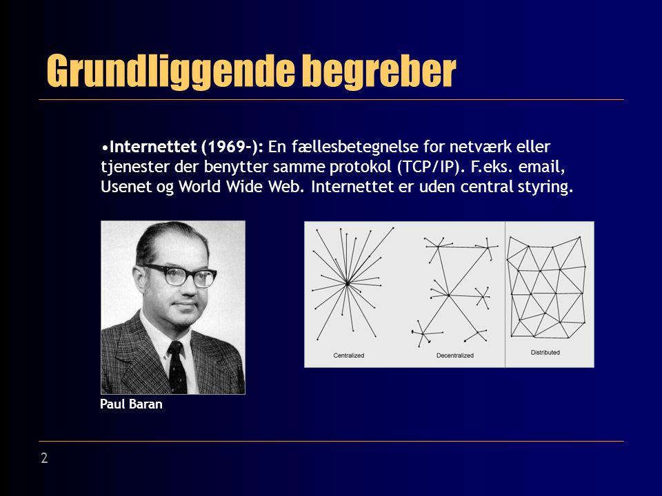 2 Grundliggende begreber Internettet (1969-): En fællesbetegnelse for netværk eller tjenester der benytter samme protokol (TCP/IP).