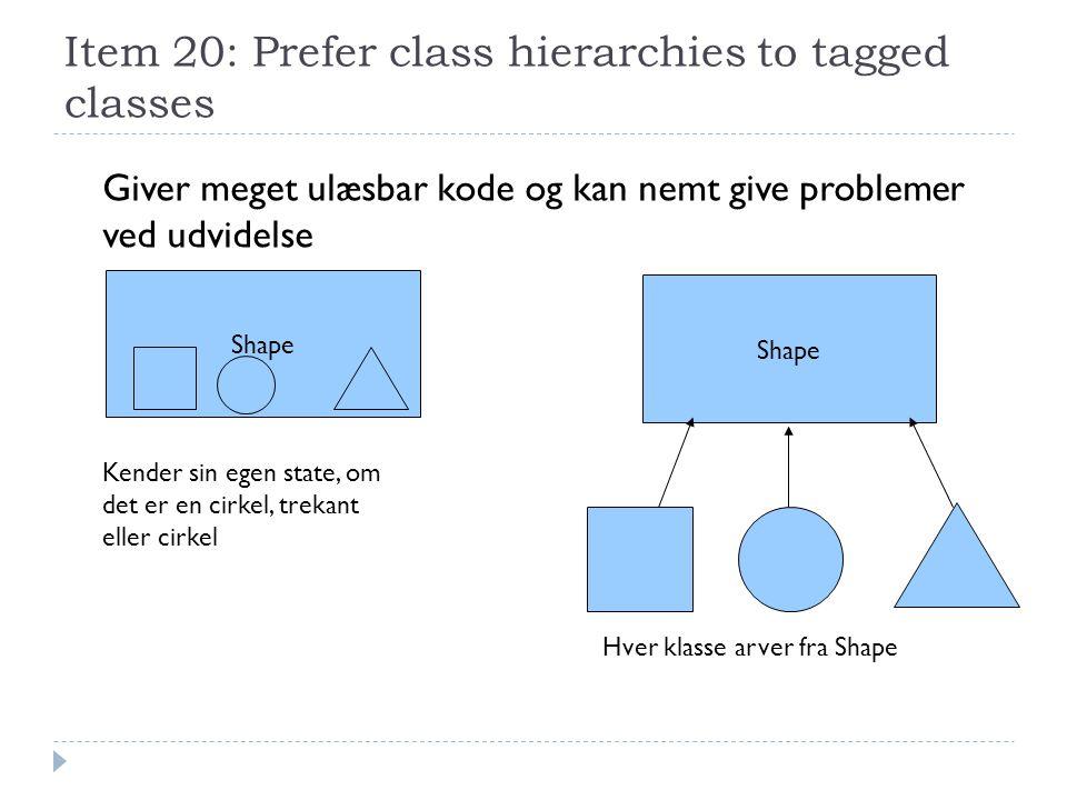 Item 20: Prefer class hierarchies to tagged classes Shape Kender sin egen state, om det er en cirkel, trekant eller cirkel Giver meget ulæsbar kode og kan nemt give problemer ved udvidelse Hver klasse arver fra Shape