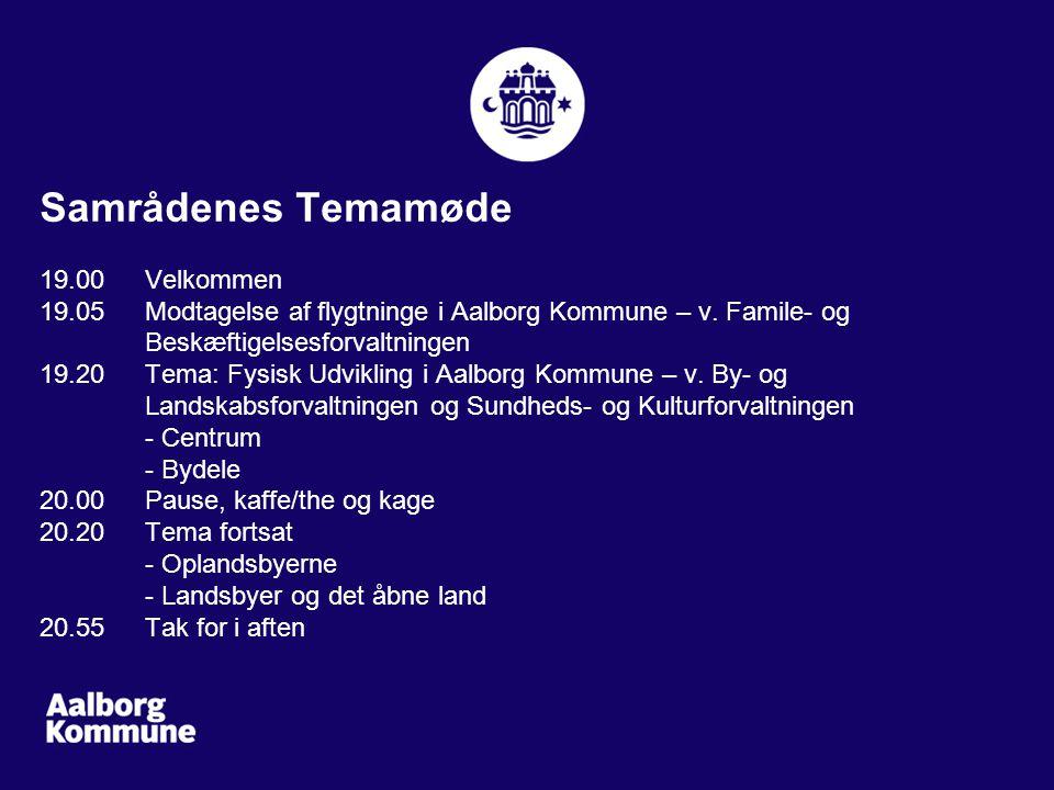 Samrådenes Temamøde 19.00 Velkommen 19.05 Modtagelse af flygtninge i Aalborg Kommune – v.