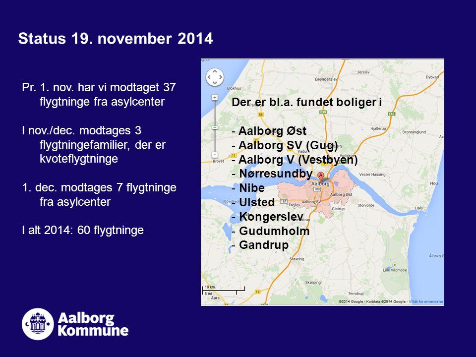 Status 19. november 2014 Pr. 1. nov. har vi modtaget 37 flygtninge fra asylcenter I nov./dec.
