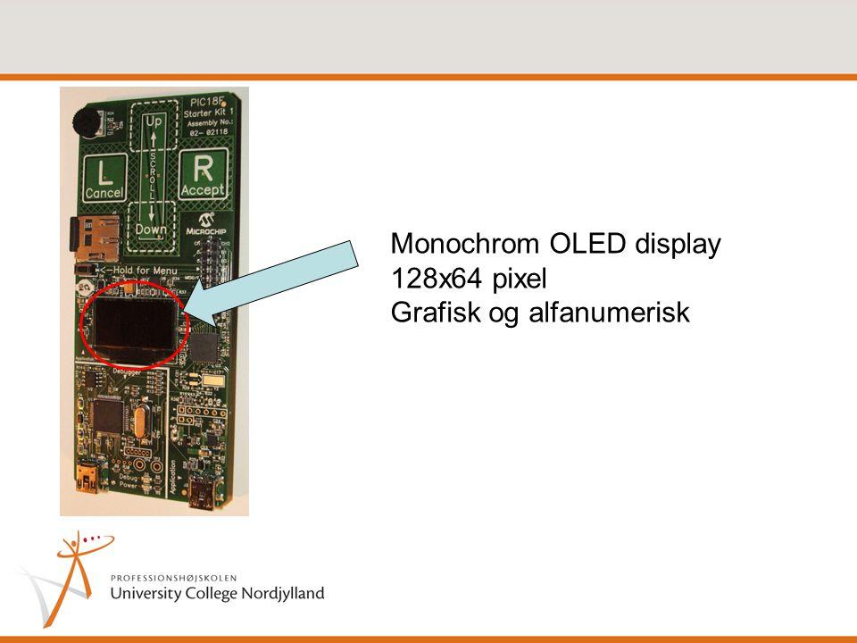 Monochrom OLED display 128x64 pixel Grafisk og alfanumerisk