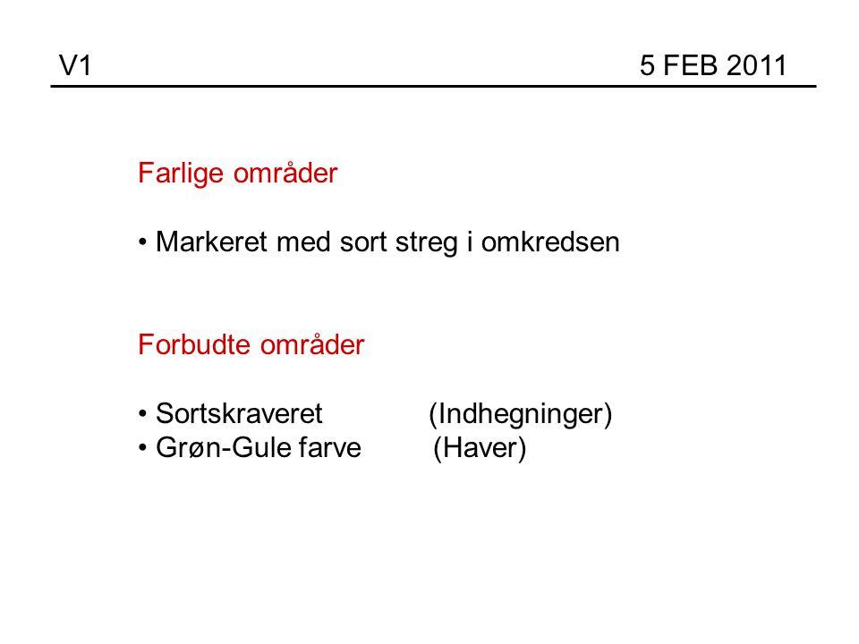 V1 5 FEB 2011 Farlige områder Markeret med sort streg i omkredsen Forbudte områder Sortskraveret (Indhegninger) Grøn-Gule farve (Haver)