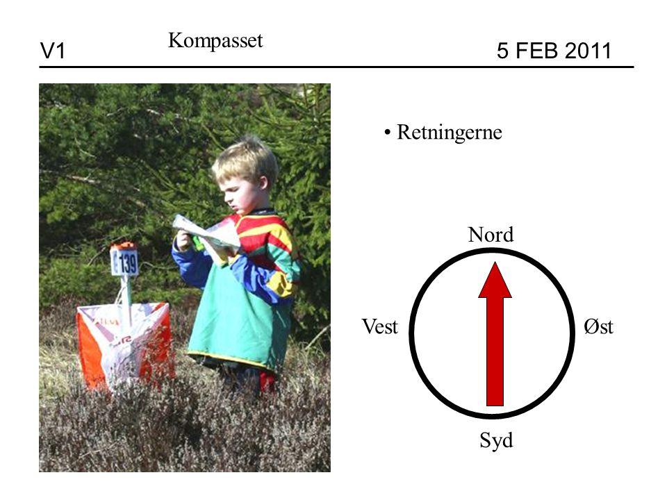 V1 5 FEB 2011 Kompasset Retningerne Nord Syd VestØst