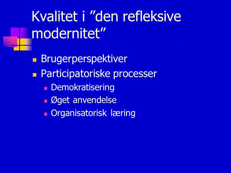 Kvalitet i den refleksive modernitet Brugerperspektiver Participatoriske processer Demokratisering Øget anvendelse Organisatorisk læring