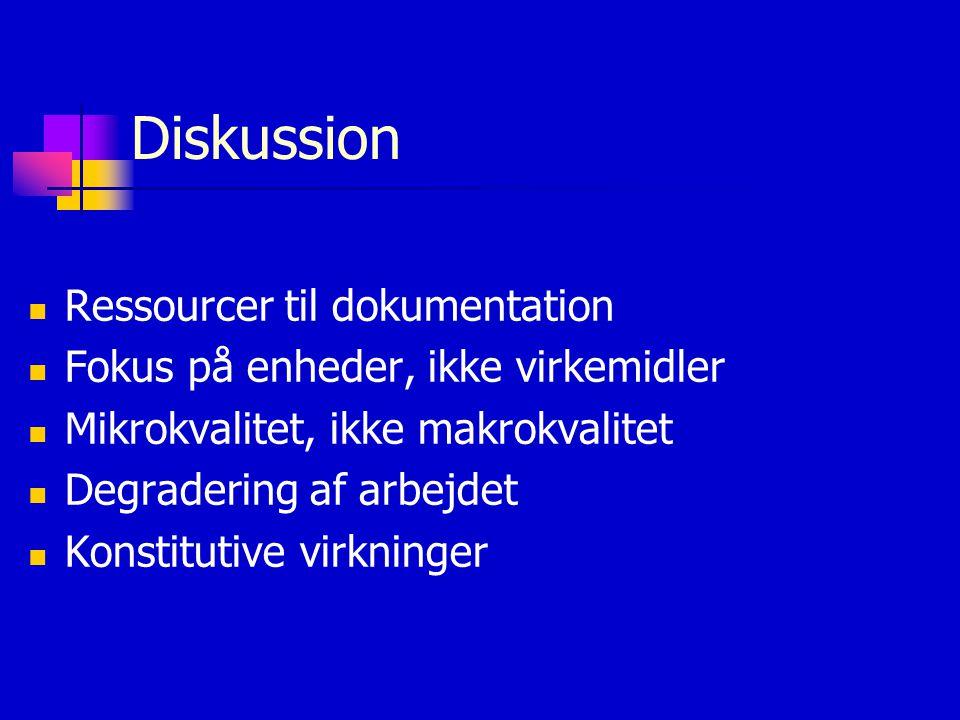 Diskussion Ressourcer til dokumentation Fokus på enheder, ikke virkemidler Mikrokvalitet, ikke makrokvalitet Degradering af arbejdet Konstitutive virkninger