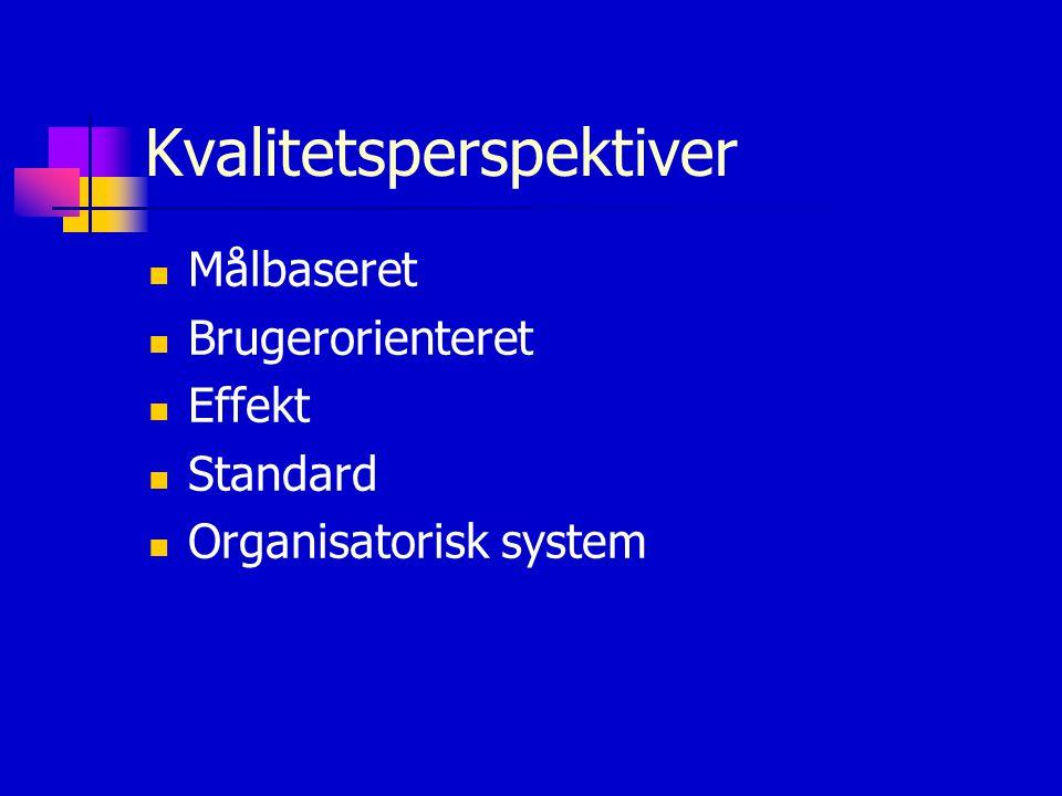 Kvalitetsperspektiver Målbaseret Brugerorienteret Effekt Standard Organisatorisk system