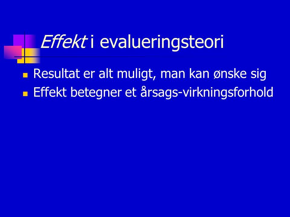 Effekt i evalueringsteori Resultat er alt muligt, man kan ønske sig Effekt betegner et årsags-virkningsforhold