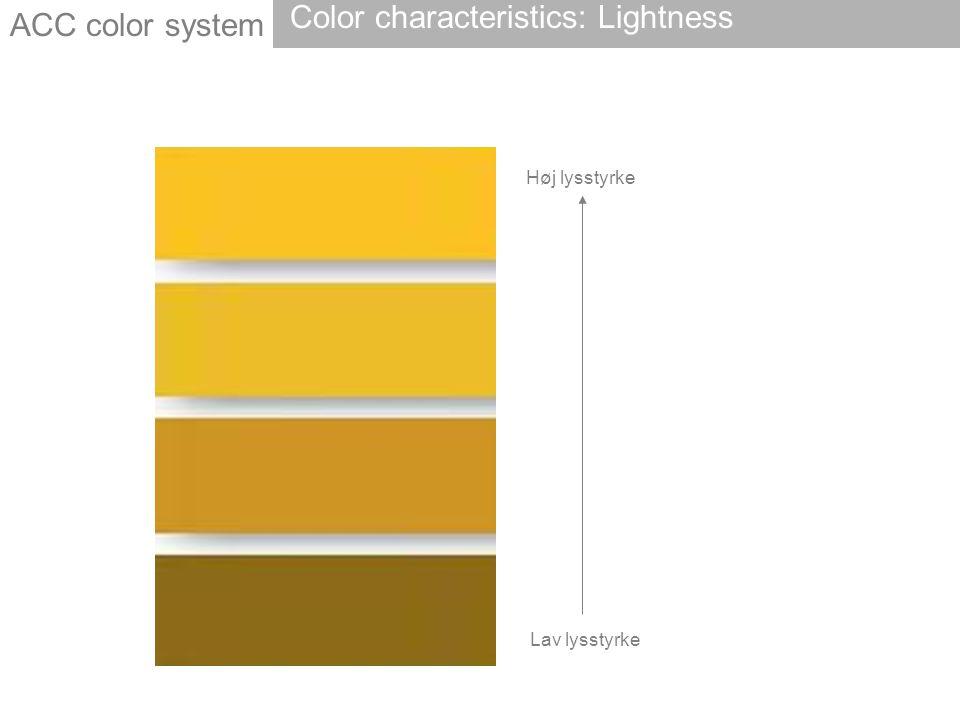 Høj lysstyrke Lav lysstyrke ACC color system Color characteristics: Lightness