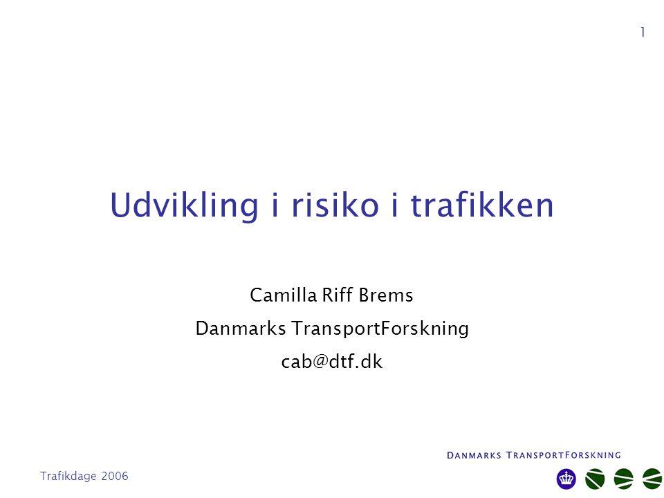 Trafikdage 2006 1 Udvikling i risiko i trafikken Camilla Riff Brems Danmarks TransportForskning cab@dtf.dk