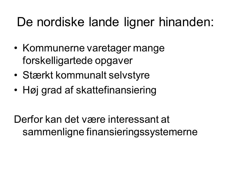 De nordiske lande ligner hinanden: Kommunerne varetager mange forskelligartede opgaver Stærkt kommunalt selvstyre Høj grad af skattefinansiering Derfor kan det være interessant at sammenligne finansieringssystemerne