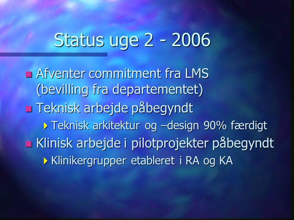 Status uge 2 - 2006 n Afventer commitment fra LMS (bevilling fra departementet) n Teknisk arbejde påbegyndt  Teknisk arkitektur og –design 90% færdigt n Klinisk arbejde i pilotprojekter påbegyndt  Klinikergrupper etableret i RA og KA