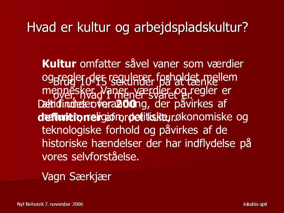 Nyt Netværk 7. november 2006 inkubia aps 4 Der findes over 200 definitioner af ordet kultur.