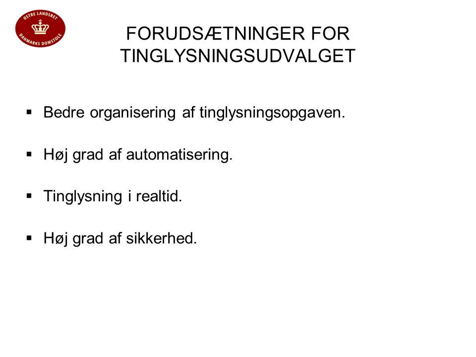 FORUDSÆTNINGER FOR TINGLYSNINGSUDVALGET  Bedre organisering af tinglysningsopgaven.