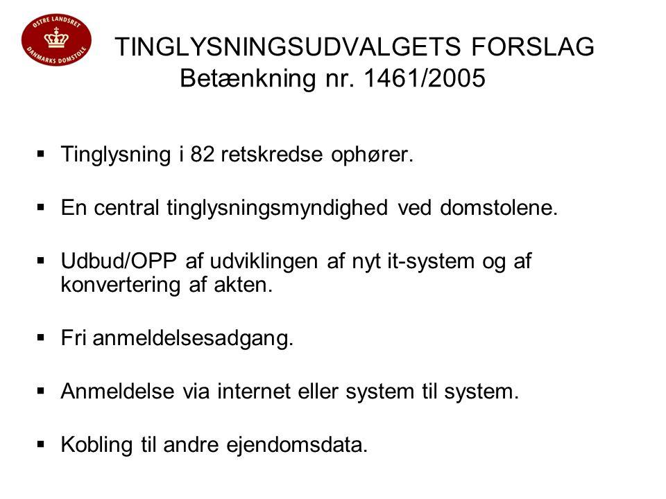 TINGLYSNINGSUDVALGETS FORSLAG Betænkning nr. 1461/2005  Tinglysning i 82 retskredse ophører.