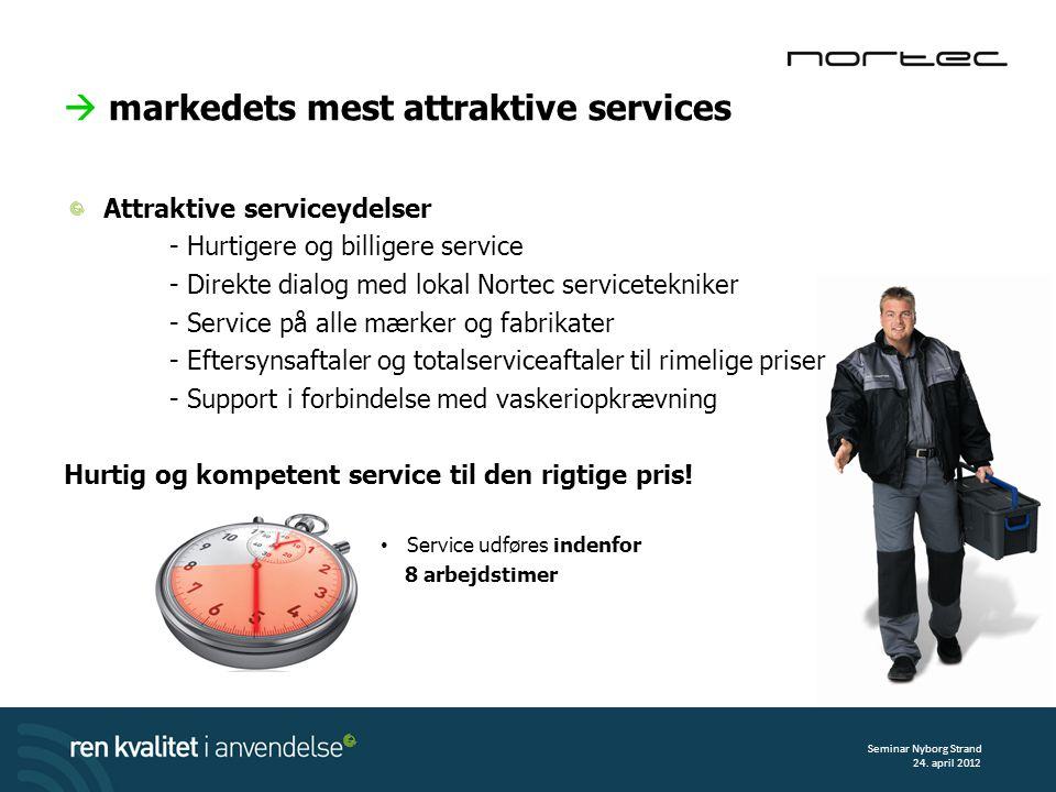 Attraktive serviceydelser - Hurtigere og billigere service - Direkte dialog med lokal Nortec servicetekniker - Service på alle mærker og fabrikater - Eftersynsaftaler og totalserviceaftaler til rimelige priser - Support i forbindelse med vaskeriopkrævning Hurtig og kompetent service til den rigtige pris.