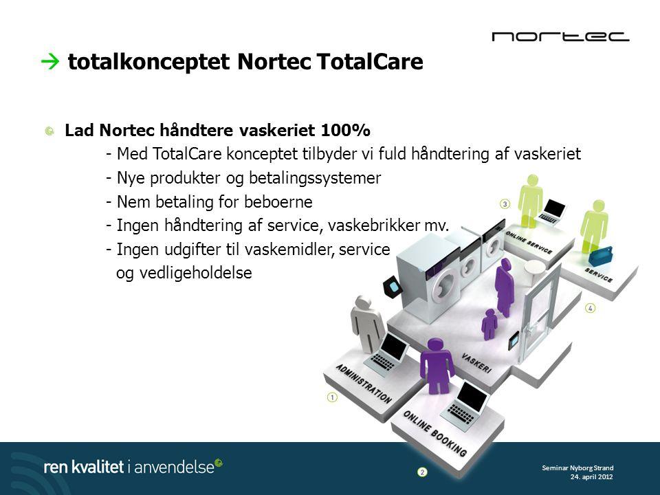  totalkonceptet Nortec TotalCare Lad Nortec håndtere vaskeriet 100% - Med TotalCare konceptet tilbyder vi fuld håndtering af vaskeriet - Nye produkter og betalingssystemer - Nem betaling for beboerne - Ingen håndtering af service, vaskebrikker mv.