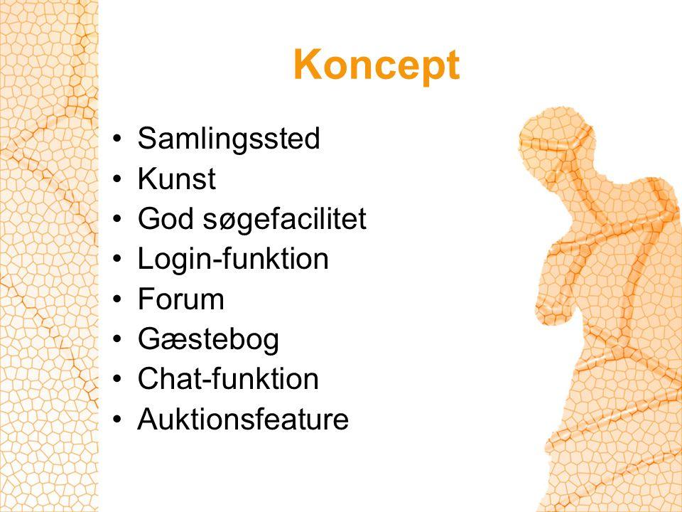 Koncept Samlingssted Kunst God søgefacilitet Login-funktion Forum Gæstebog Chat-funktion Auktionsfeature