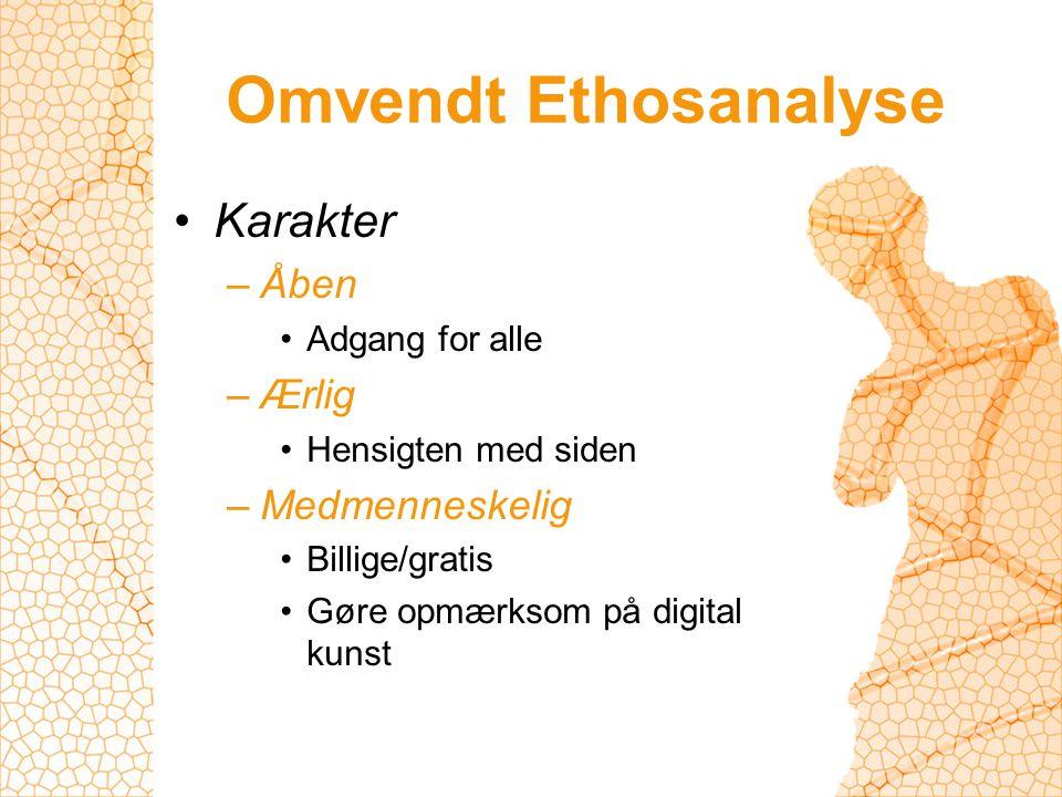 Omvendt Ethosanalyse Karakter –Åben Adgang for alle –Ærlig Hensigten med siden –Medmenneskelig Billige/gratis Gøre opmærksom på digital kunst
