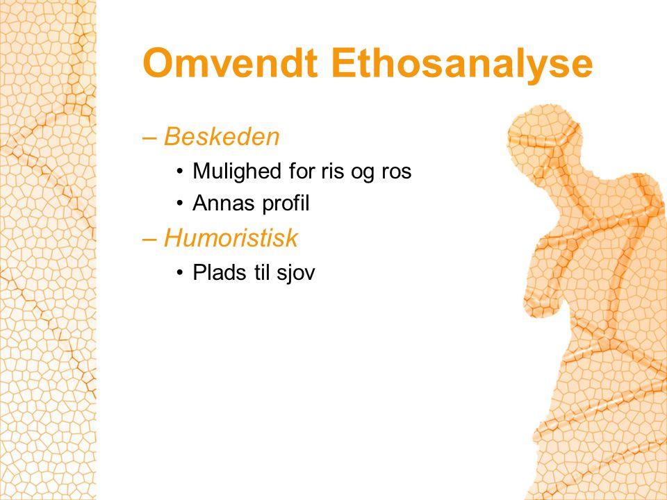 Omvendt Ethosanalyse –Beskeden Mulighed for ris og ros Annas profil –Humoristisk Plads til sjov